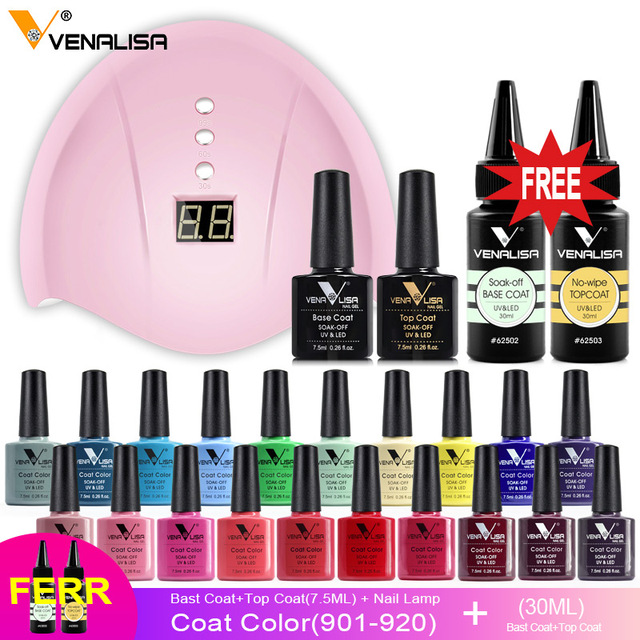 Venalisa 2020 New nail polish gel kit led nail lamp manicure base coat topcoat 7.5ml color gel polish full set