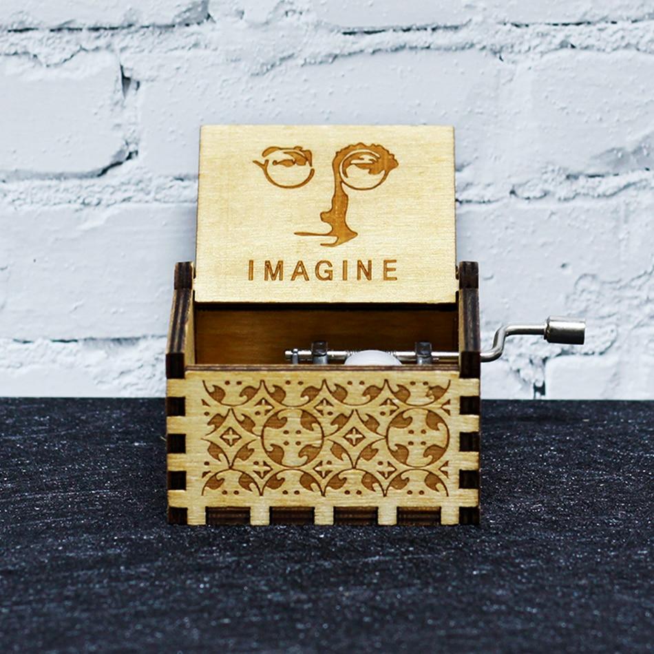 Горячая антикварная резная деревянная ручная кривошипная музыкальная шкатулка королевы Игра престолов для моей Goigeous жены тема музыкальная шкатулка Рождественский подарок на день рождения - Цвет: Imagine John Lennon