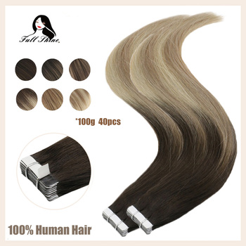 Full Shine Ombre Color 40pcs 100g 100% Real Human Hair Balayage Hair Tape in Hair Extensions Blonde For Woman Machine Made Remy full shine balayage color 3 8 613 hair weft 100g hair weave sew in ribbon hair 100