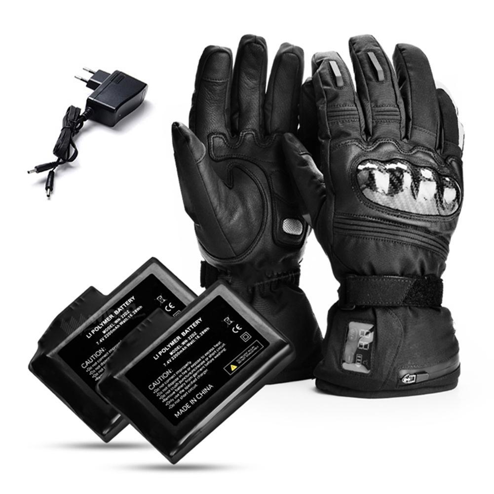 Перчатки с цифровым дисплеем с электрическим подогревом, кожаные водонепроницаемые теплые электрические перчатки, зимние уличные мужские и женские перчатки для катания на лыжах - 4