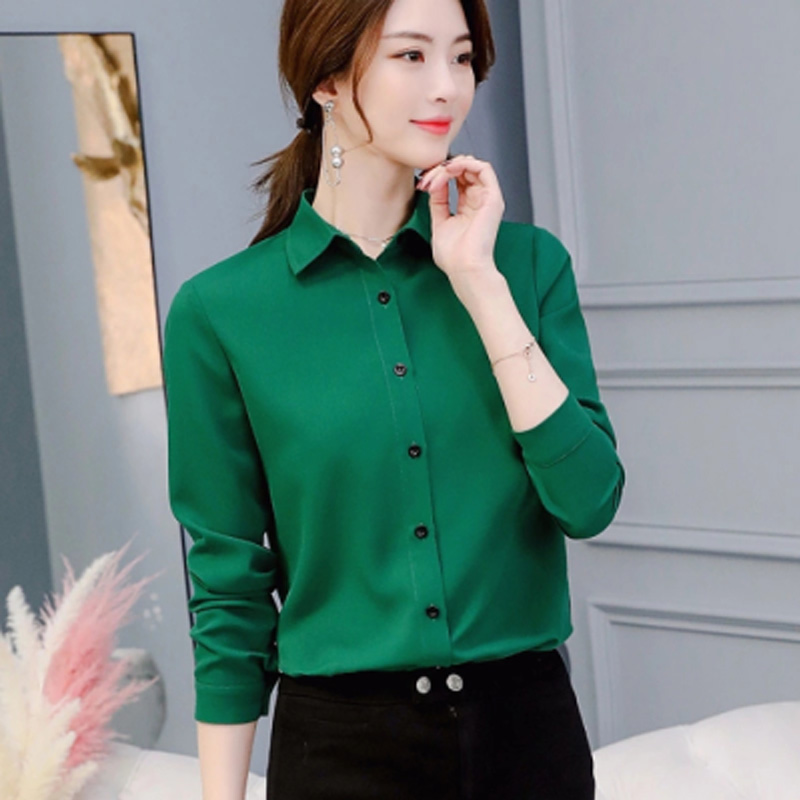 Female Blusas Autumn Winter Blouse Office Lady Slim Green Shirts Women Blouses Leisure Long Sleeve Plus Size Tops Casual Shirt