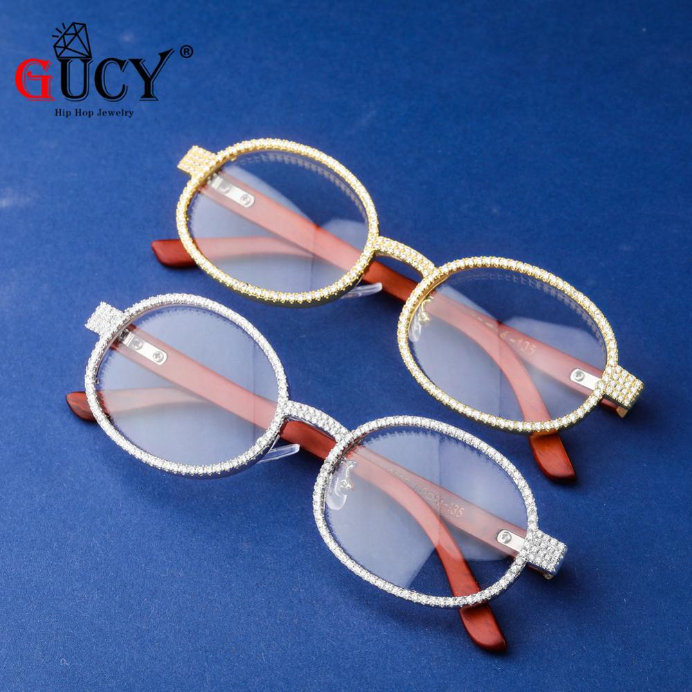 GUCY Fashion Men Glasses Frame Women Eyeglasses Frame Round Clear Lens GlassesIced Out Cubic Zirconia Hip Hop Rock Glasses