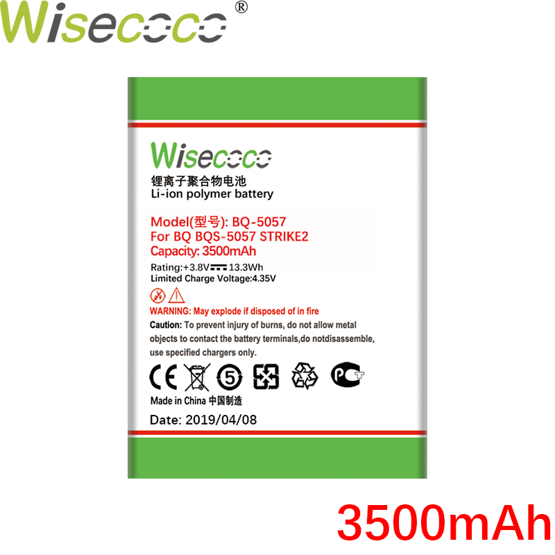 WISECOCO 3500mAh Battery For BQ BQs 5057 STRIKE2 BQS 5057 Cell Phone Latest Production High Quality Battery With Tracking Number in Mobile Phone Batteries from Cellphones Telecommunications
