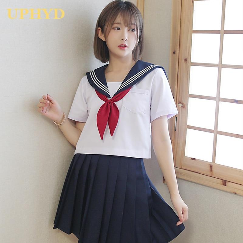 White Three Lines Japanese School Uniform College High School Girls Student Uniforms Sailor Suit White Tops Pleated Skirt