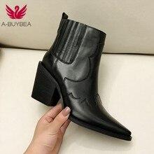 Botas de couro feminino genuíno dedo do pé apontado meados de calcanhar tornozelo botas de salto quadrado grosso deslizamento em botas ocidentais botas de cowboy feminino 2019 novo