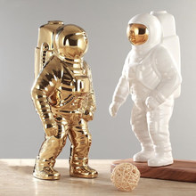Gold Space Man Sculpture Astronaut Fashion Vase Creative Modern Ceramic Cosmonaut Ornament Model Garden Statue Home Decorations(China)