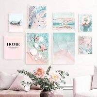 Cuadro sobre lienzo para pared con diseño de concha de mar, hoja de La planta Tropical, carteles nórdicos e impresiones de imágenes de pared para decoración para sala de estar, color rosa