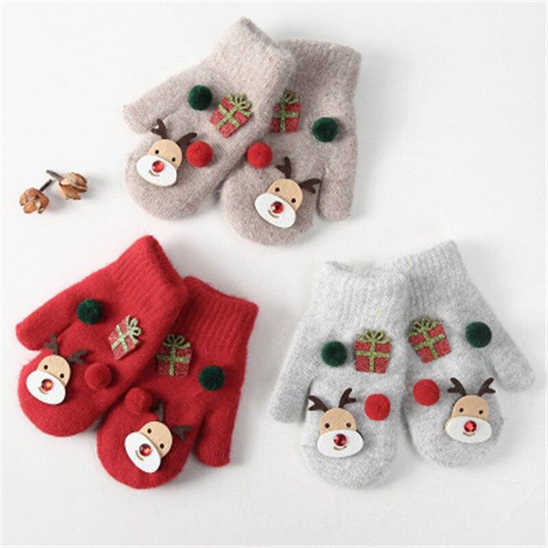 Cartoon Warm Winter Gloves Christmas Elk Gifts Plush Thicken Warm Children Kids Unisex Gloves Mittens Fashion Accessories-QNC