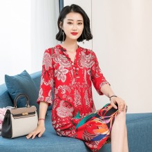 New women clothes 2019 Spring and summer new style Chinese red printed midi Silk dres dress