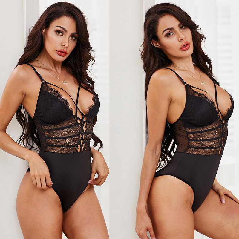 SEBOWEL Schwarz Sheer Lace up Bodys Frau V-ausschnitt Sexy Body Bodycon Ärmel Overalls Neue Weibliche Kleidung Club Körper Tops
