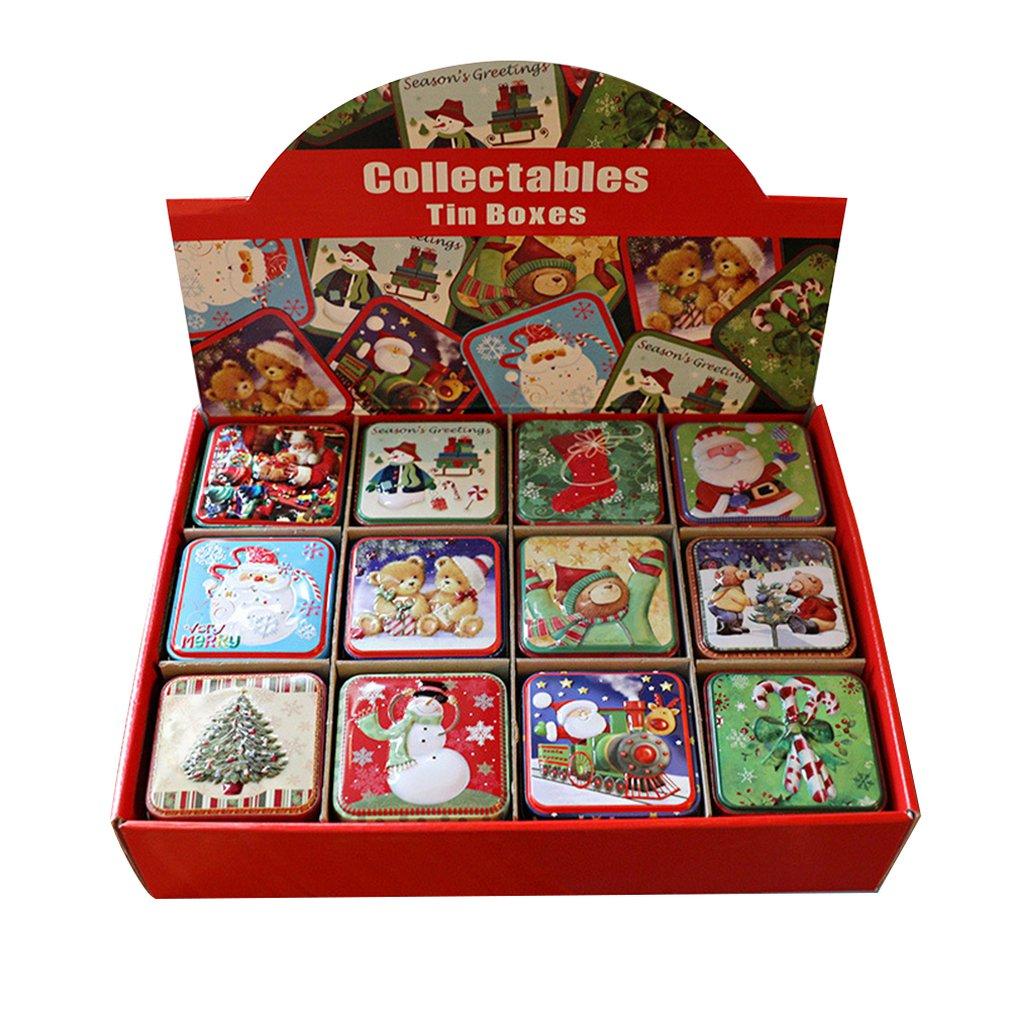 Christmas Small Square Box Tin Box Packaging Gift Box Gift Baking Biscuit Box Tin Sugar Box Christmas Gift Box