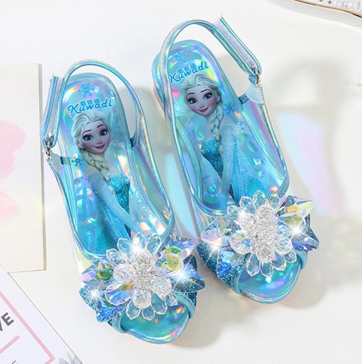 Детские сандалии на высоком каблуке, кожаная Летняя обувь принцессы Эльзы, для девочек