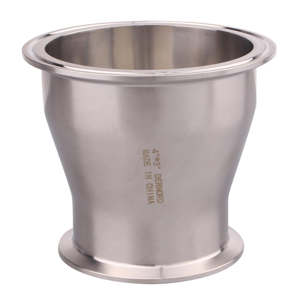 """DERNORD Sanitary Fitting Reducer Fitting SUS304 Tri Clamp Ferrule Style 4"""" Tube OD to 3"""" Tube OD"""