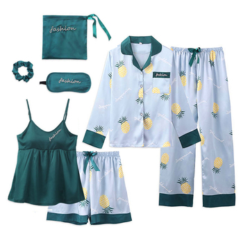 FallSweet 7 Pieces Pajamas for Women Print Satin Silk Pyjamas Set Short Sexy Ladies Lingerie Sleepwear Homewear
