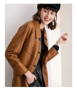 Image 4 - หนังผู้หญิงสั้นหัวรถจักร 100% Sheepskin Slim Coat ขนาดกลางยาว
