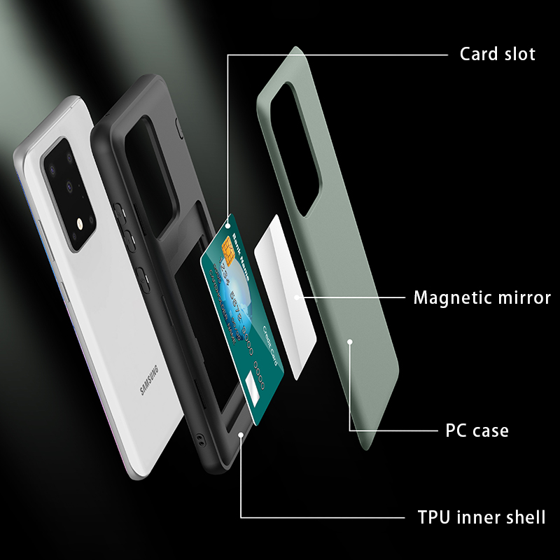 Shockproof Case For Samsung Galaxy S20 S20 Plus Card Holders Back Case For Samsung S20 Ultra Cover With Hidden Make Up Mirror