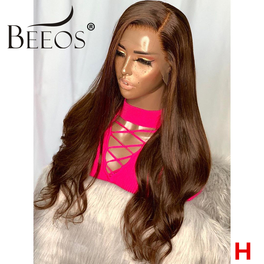 13*6 180% Deep Part Brown Color Human Hair Front Human Hair Wig Body Wave PrePlucked Hair Line Bleached Knots Peruvian Remy Hair