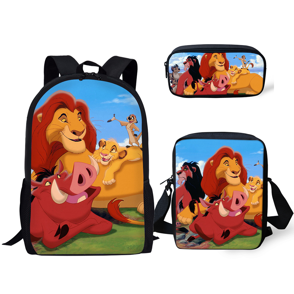 HaoYun Children 39 s School Backpack Kawaii The Lion King Pattern School Book Bags Cartoon Little Animal 3PCs Set Students Bags in School Bags from Luggage amp Bags