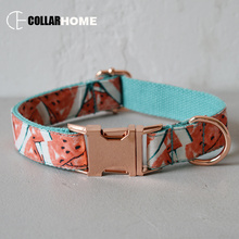 Watermelon dog collar leash for medium big dogs pet necklace with bow tie adjustable rose gold metal buckles Christmas gifts nylon adjustable dog collar leash set with bow tie for big small dogs cotton fabric collar rose gold christmas decorative gifts