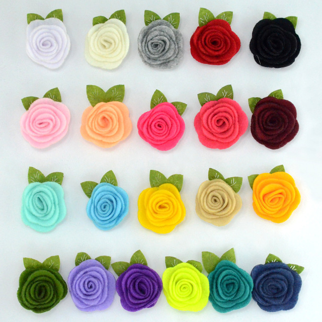 5pcs/lot Felt Leaf Flowers for Diy Baby Girls Headband Hair Clips Cute Rose Flower for Children Kids Headwear Head Accessories