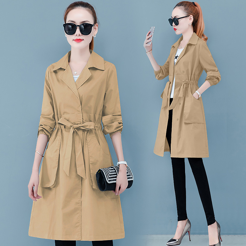 2019 winter autumn fashion Casual women 39 s khaki jacket Coat long slim Outerwear loose clothes for lady with belt clothing in Jackets from Women 39 s Clothing