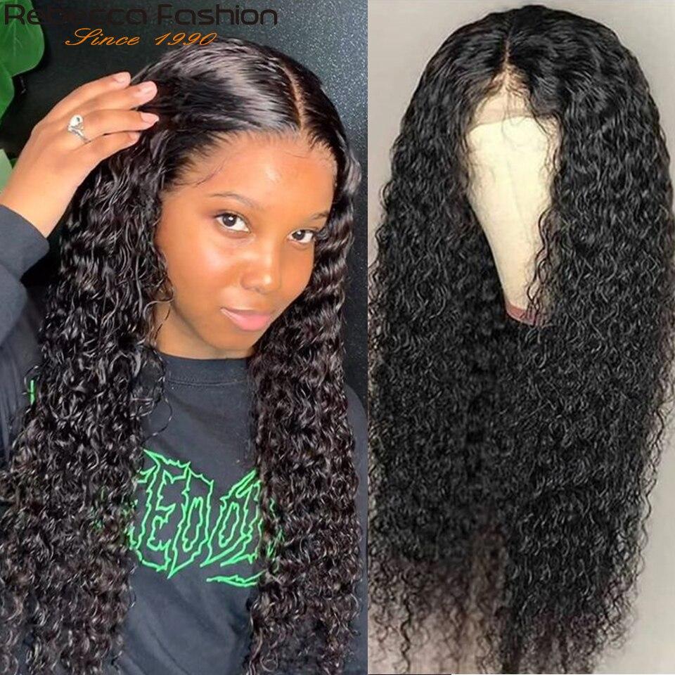 Rebecca 150% kinky encaracolado perucas de cabelo humano perucas de cabelo humano feminino 13x4 kinky encaracolado frente do laço perucas de cabelo humano 8 a 30 Polegada