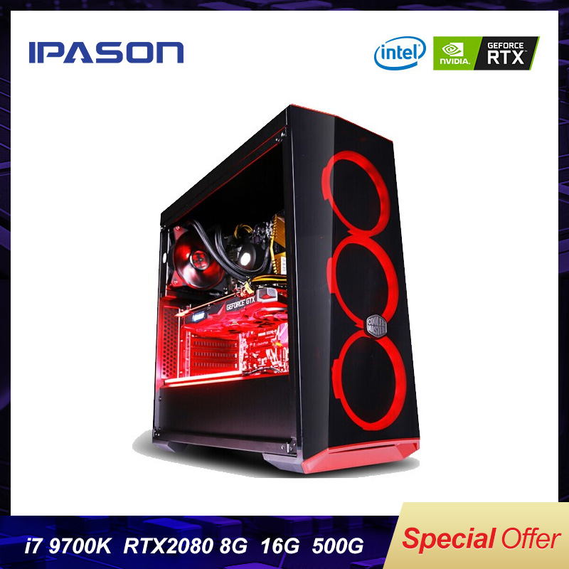Intel 8-Core 8-threads IPASON Desktop Computer i7 9th Gen 9700k/Z390/DDR4 16G RAM/500G m.2 +2T SSD/RTX2080 8G Gaming PC image