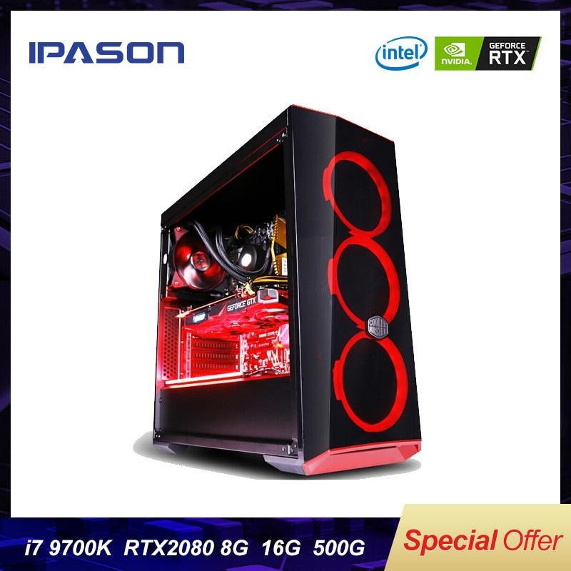 Intel 8-Core 8-threads IPASON Desktop Computer I7 9th Gen 9700k/Z390/DDR4 16G RAM/500G M.2 +2T SSD/RTX2080 8G  Gaming PC