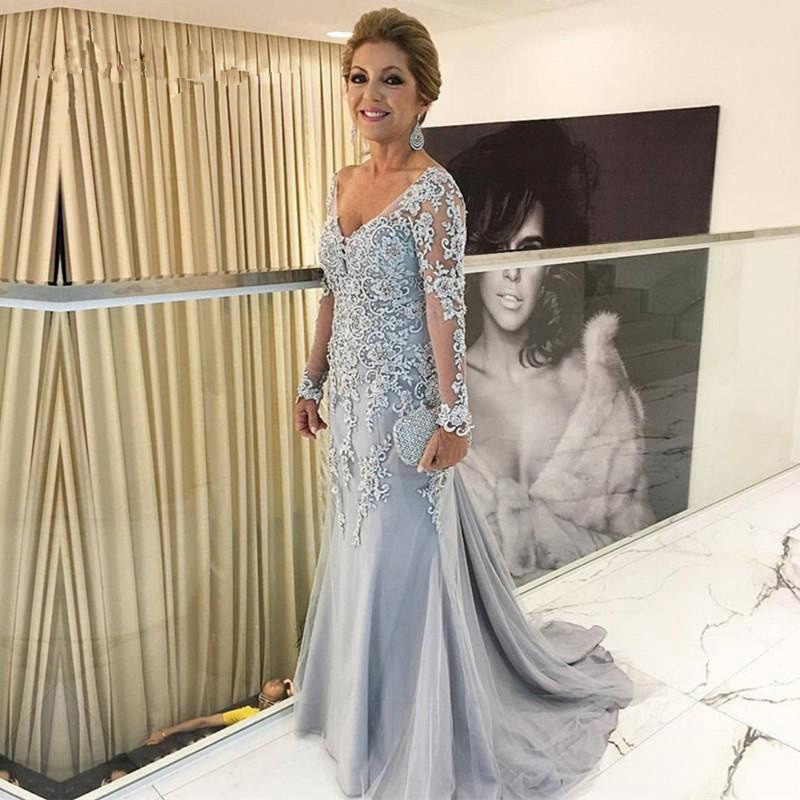 Blue 2020 Mother Of The Bride Dresses Mermaid V-neck Long Sleeves Tulle Appliques Beaded Groom Long Mother Dresses For Wedding