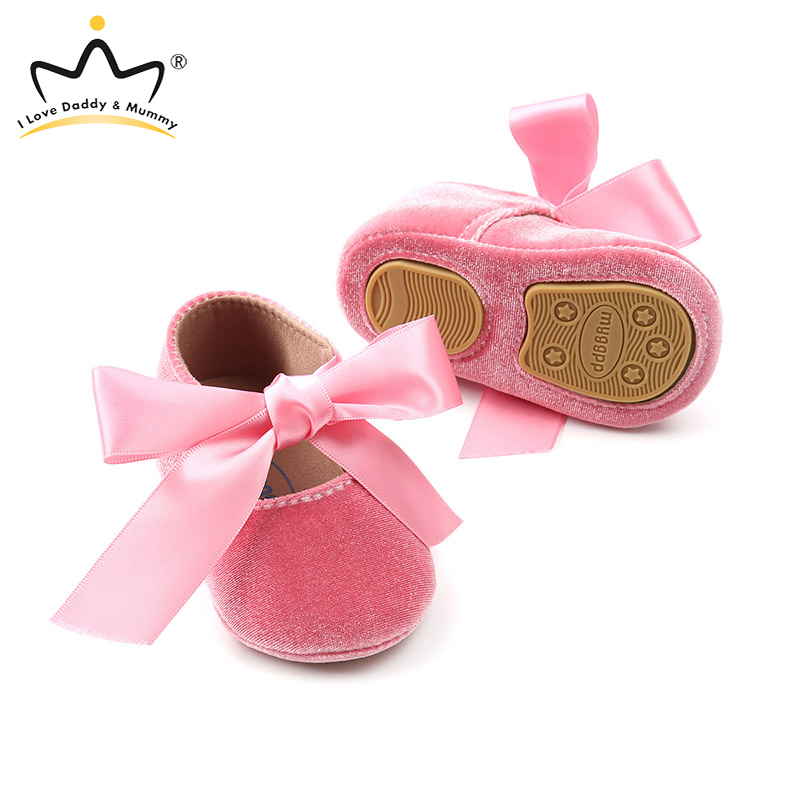 Lace Bow Baby Girl Shoes Cute Bowknot Non Slip Toddler Shoes Pink Gold Princess Girls First Walkers Newborn Shoes For Girls