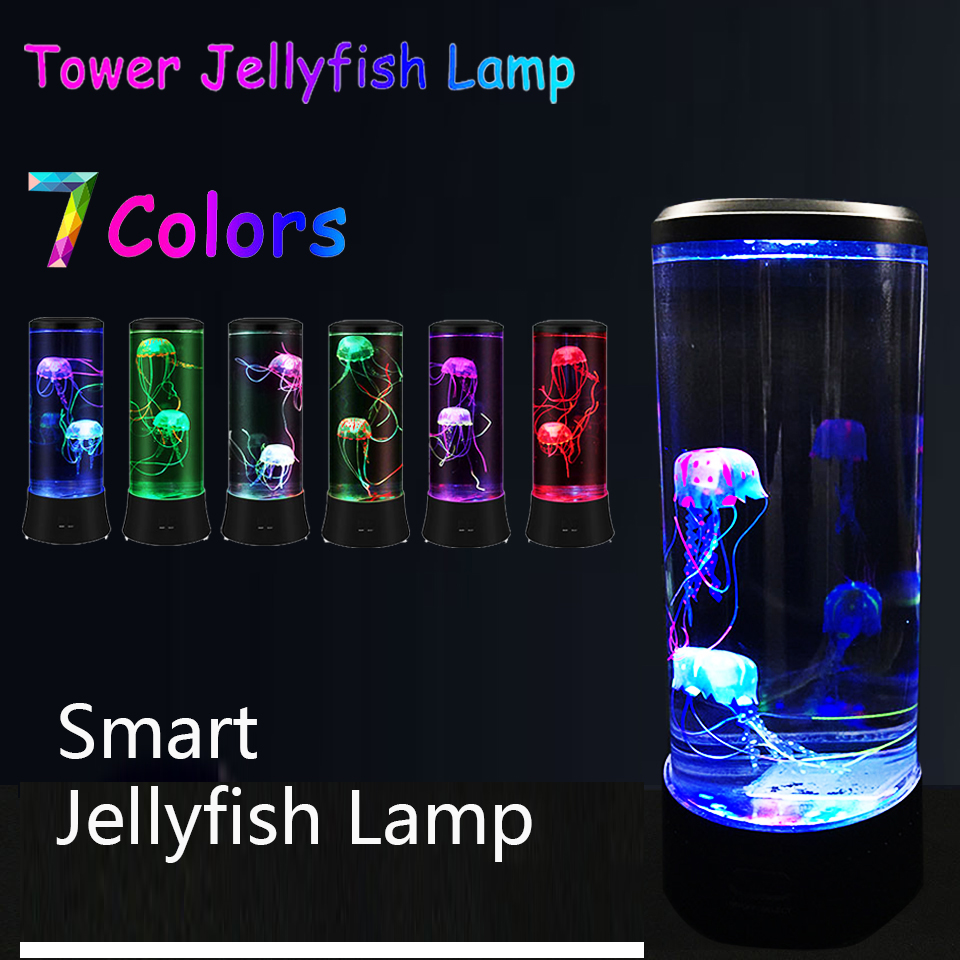 Jellyfish Lamp LED Color Changing Home Decoration Night Light Jellyfish Aquarium Style Led Gift For Kids Children USB Charging