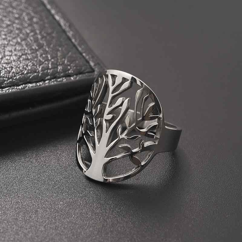 Jiayiqi кольцо из нержавеющей стали Классическое Дерево жизни Мужские кольца с ажурным орнаментом серебряные модные ювелирные аксессуары для женщин Luckly подарки