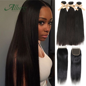 Straight Hair 3 Bundles With Lace Closure Hair Extensions Non Remy Malaysia Hair 3 Bundles And Lace Closure Free Shipping Allure