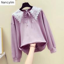 Ladies Sweatshirt New Korean Student Girl Stitching Lace Doll Collar Long Sleeve Pullovers Sweatshirts Coat Hoodies Autumn 2019