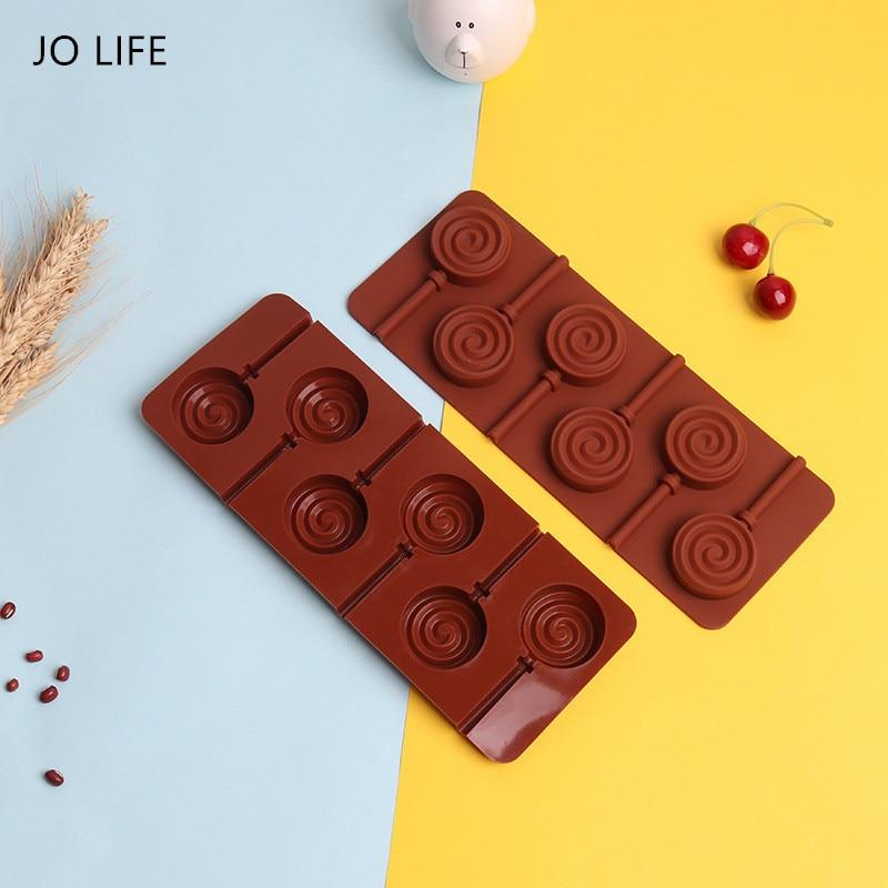 JO LIFE DIY Bakeware Doughnut Lollipop Mold 3D Handmade Silicone Heart Star Flower Shape Chocolate Cake Mold