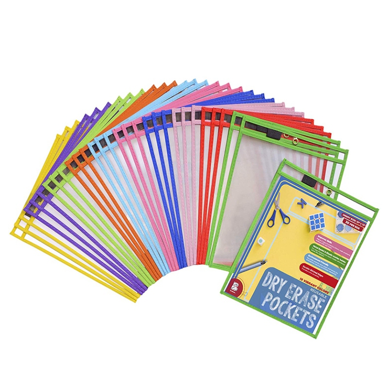 50x Dry Erase Pockets Pockets Perfect Classroom Organization Reusable Dry Erase Pockets Teaching Supplies