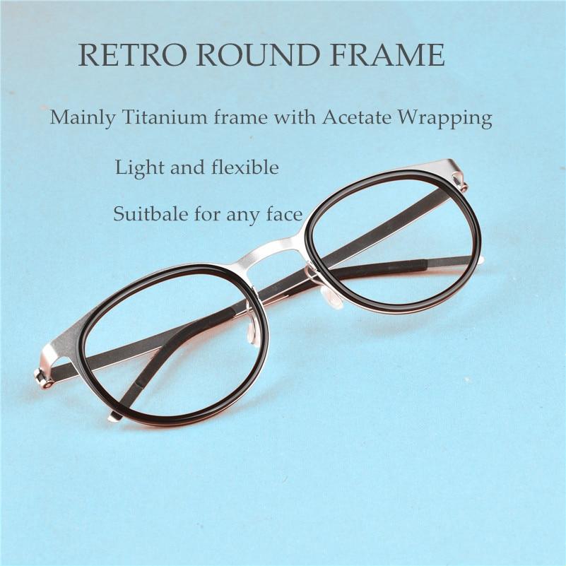 Retro Round Titanium Screwless Glasses Frames Men Spectacles Myopia Reading Eyeglasses Women Oculos De Grau