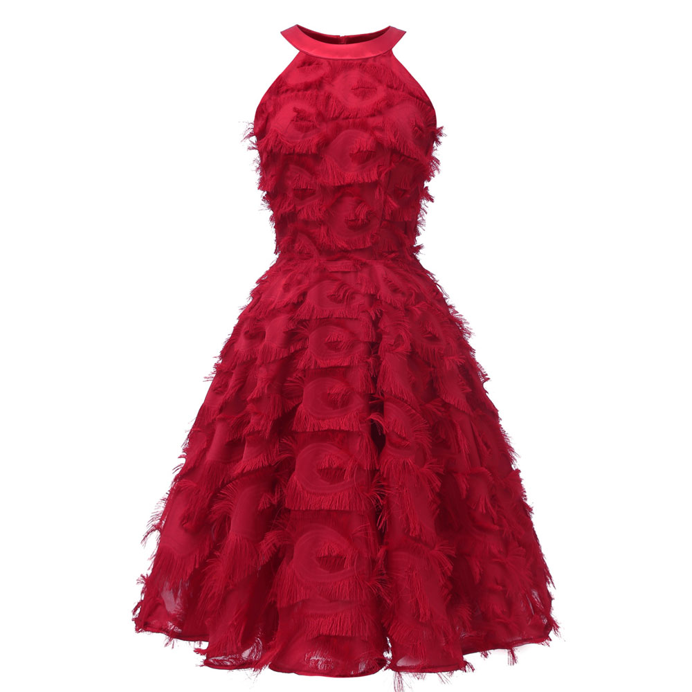 Красное коктейльное платье длиной до колена роскошное вечернее платье трапециевидной формы с кисточками сексуальное платье без рукавов с v-образным вырезом - Цвет: 1427 Red