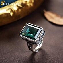 925 sterling silver rectangle gemstone lover's rings fine