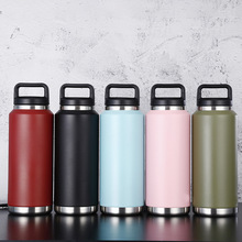 Powder-Coated Water-Bottle Stainless-Steel Travel Double-Wall Mouth Wide 36oz 18/8