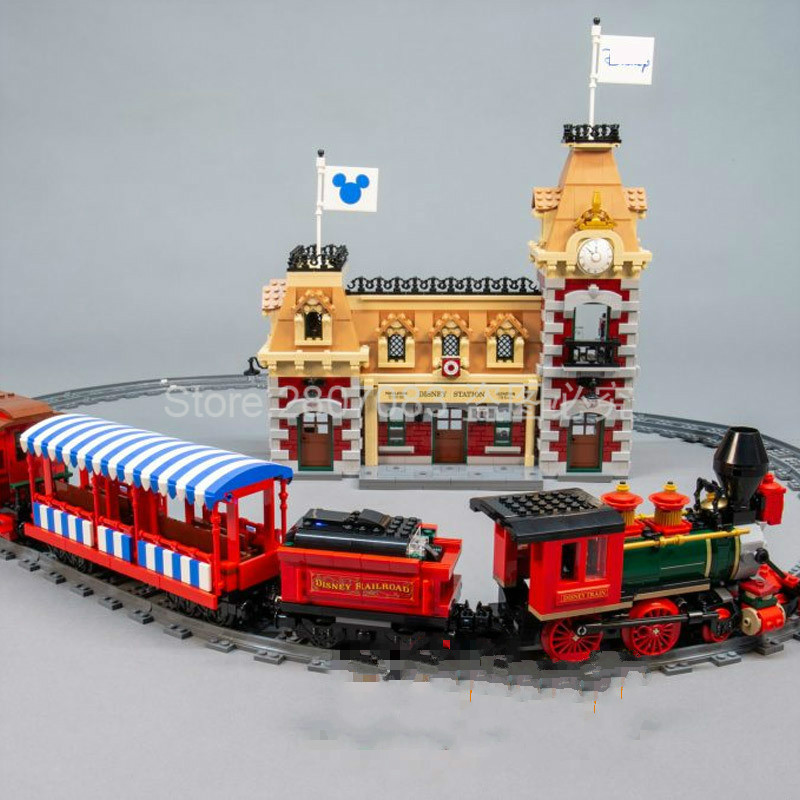 In Stock J11001 Fairy Tales Playground Train And Station Building Blocks 3350pcs Bricks Toys Gift Compatible Movie 71044