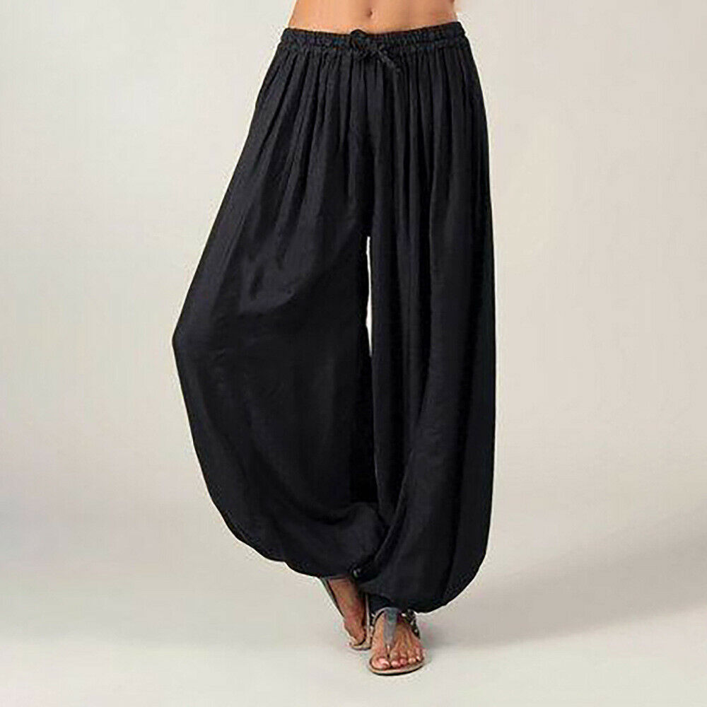 Hot Women Ali Baba Pants Aladdin Solid Elastic Afghan Genie Hippy Loose Dance Fashion Lady Cotton Casual Trousers Plus Size 3XL