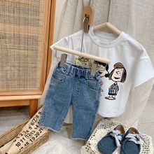 2021 Spring Summer Korean Children's Wear Girls' Shorts Jeans High Elastic Denim Bifurcated Pants