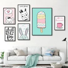 Modular Canvas HD Prints Nordic Wall Art Mint Green Cartoon Animal Posters Paintings Children Room Home Decor Pictures Frame(China)