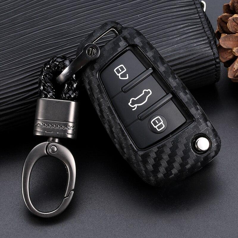 Clé de voiture Housse de protection En Fiber De Carbone Pour Audi A3 A4 A4L B5 B6 B7 B8 B9 A5 A6 A6L C5 C6 Q3 Q5 Q7 S5 S7 RS3 TT Voiture clé Shell Protecteur