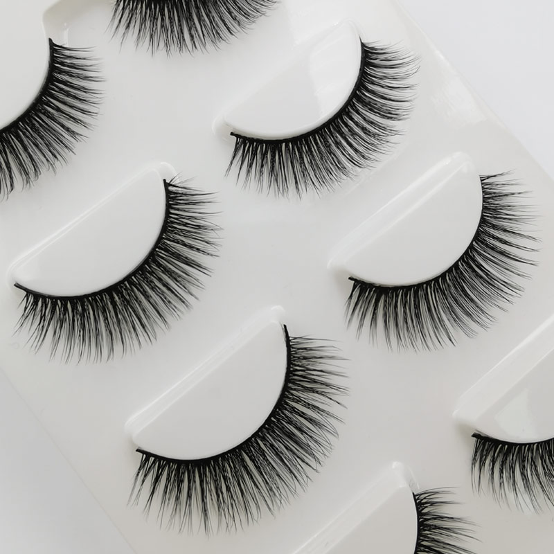 Shidishangpin 5 pairs 3D mink eyelashes natural long hand made false 1 box lashes