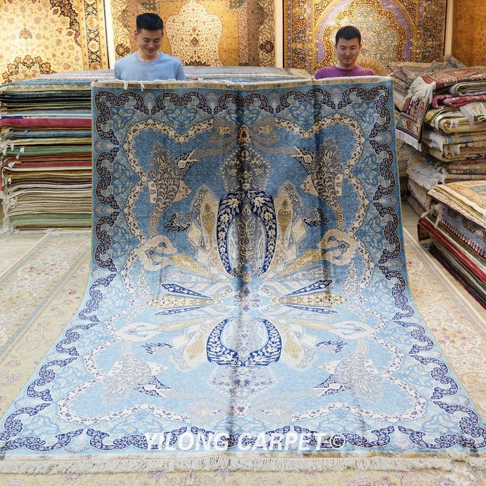 Yilong 6.56'x9.84 'hurtownia orientalny dywan niebieski iran qum - Tekstylia do domu - Zdjęcie 1