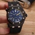 Reloj mecánico automático de acero inoxidable de marca de lujo para hombre, relojes deportivos de zafiro, caucho negro completo AAA +