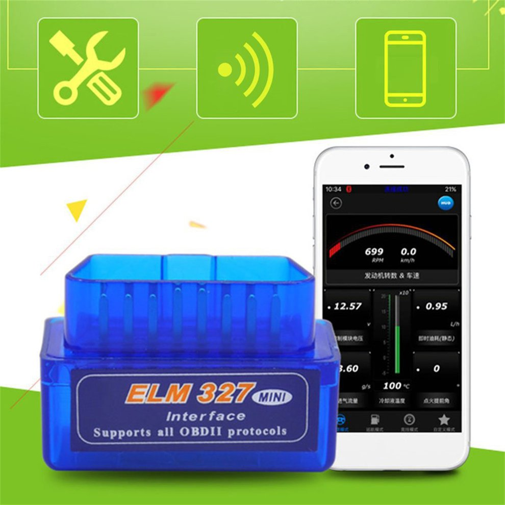 Mini Portatile ELM327 V2.1 OBD2 II Bluetooth Diagnostico Auto Interfaccia Scanner Premium Blu ABS Strumento di Diagnostica title=