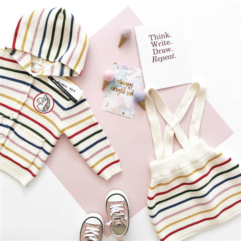 Tonytaobaby ฤดูใบไม้ร่วงฤดูหนาวใหม่ Kids'and ชุดว่ายน้ำสีลายการ์ตูน Girls'Knitting ชุดสองชุด